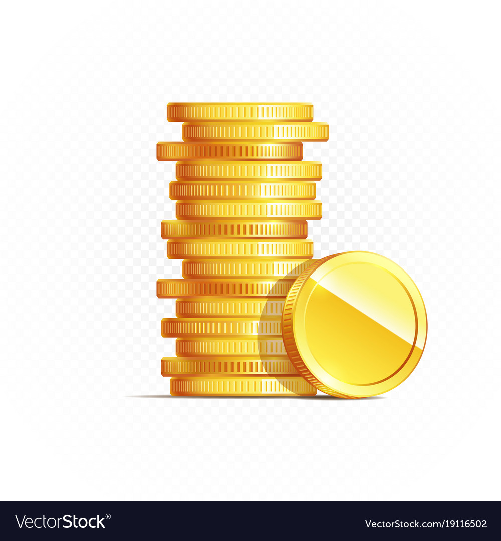 7391ae6e2fab Gold coins isolated on transparent in different Vector Image
