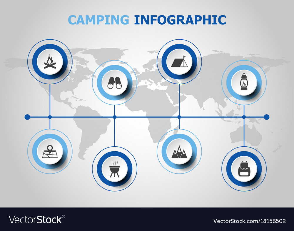 Infographic design with camping icons