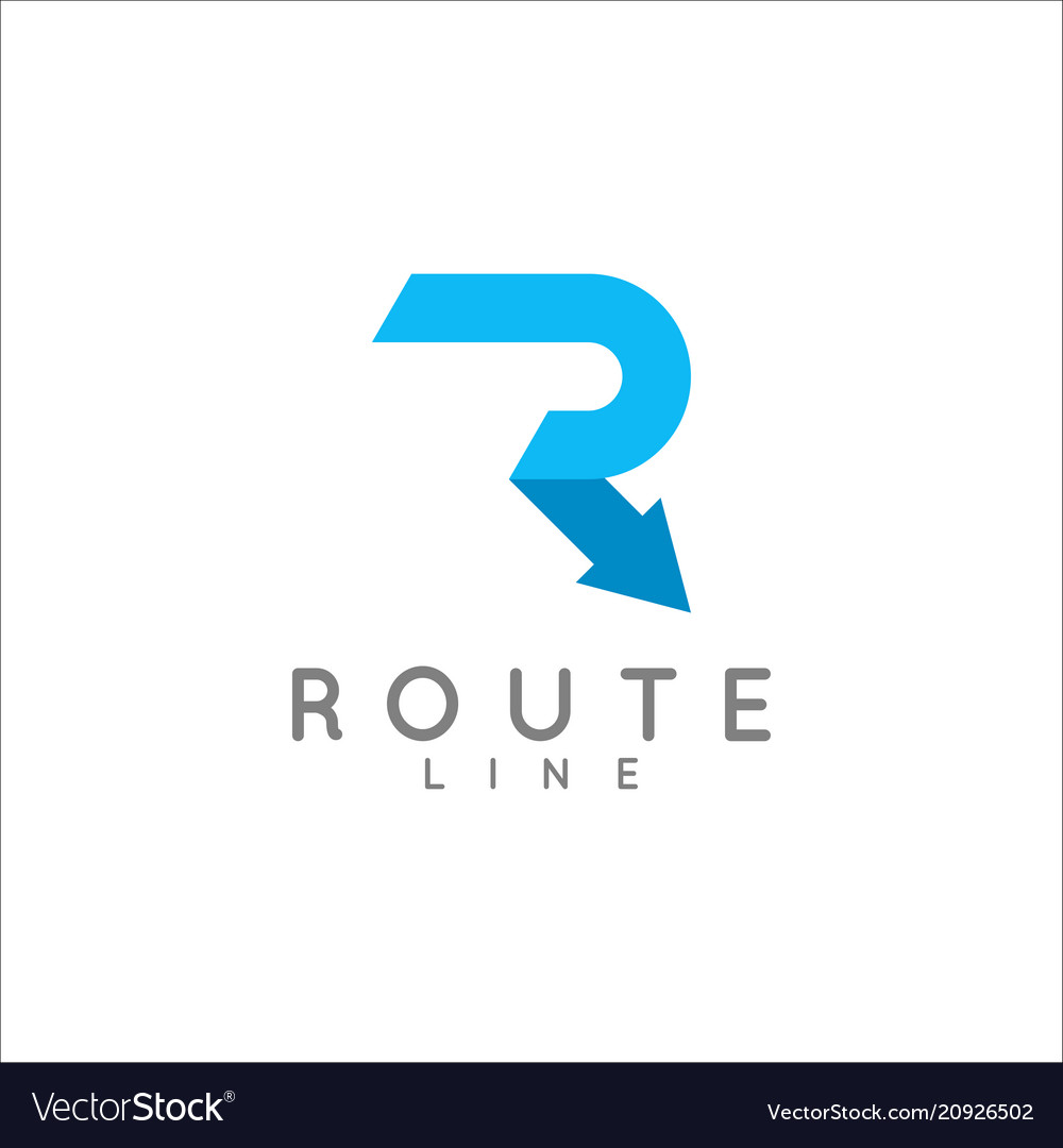 Letter r logo arrow route concept on white