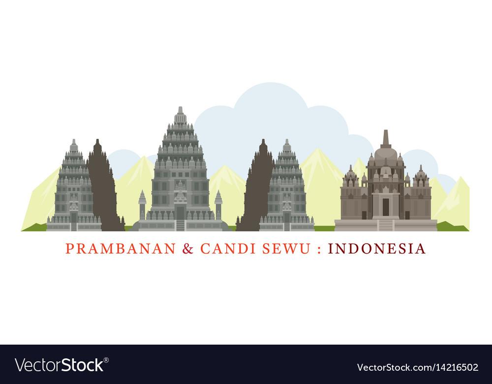Prambanan yogyakarta indonesia vector image
