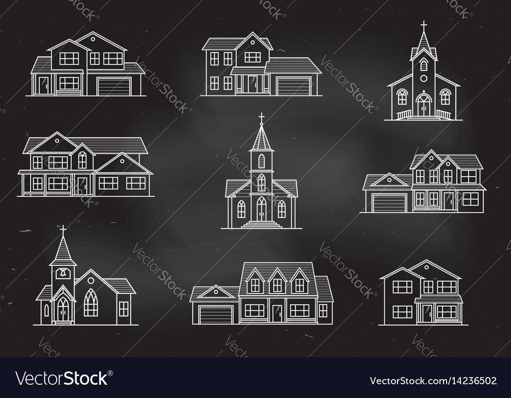 Set of thin line icon suburban american