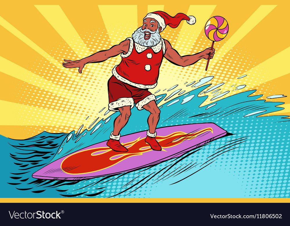 Sports Santa Claus on a surfboard