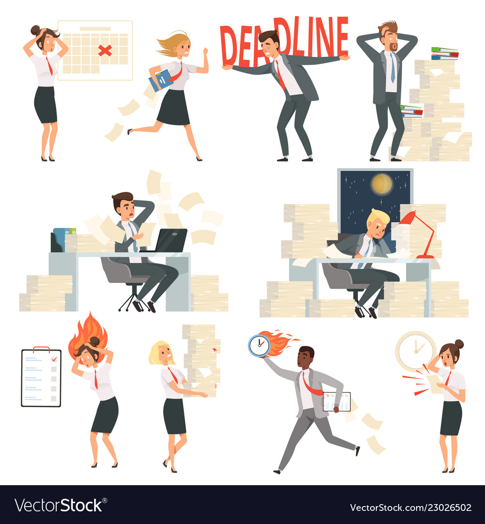 Stressed office people overworked deadline time