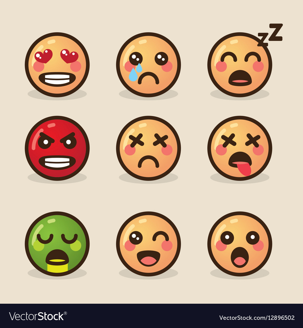 Style kawaii emoticons with