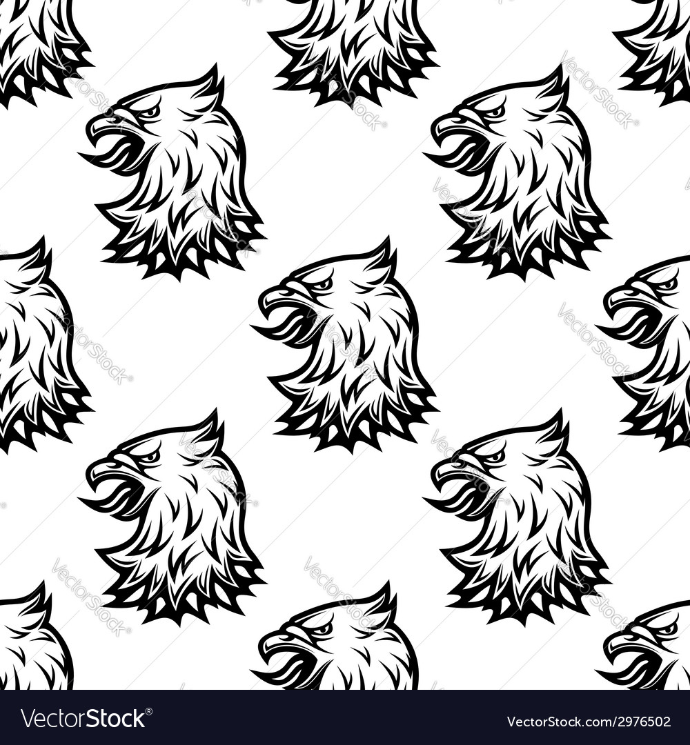Stylized black eagle seamless pattern vector image