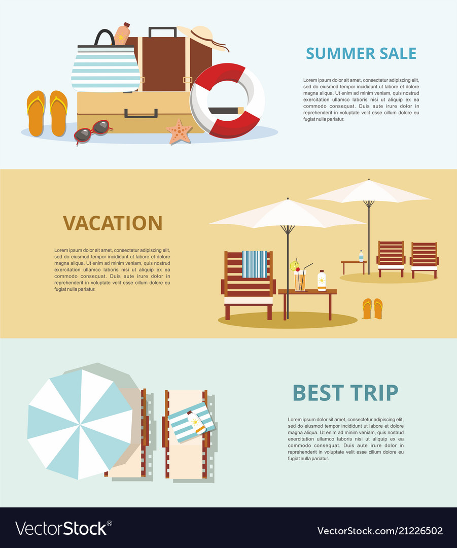 Summer vacation and tourism set three web banners
