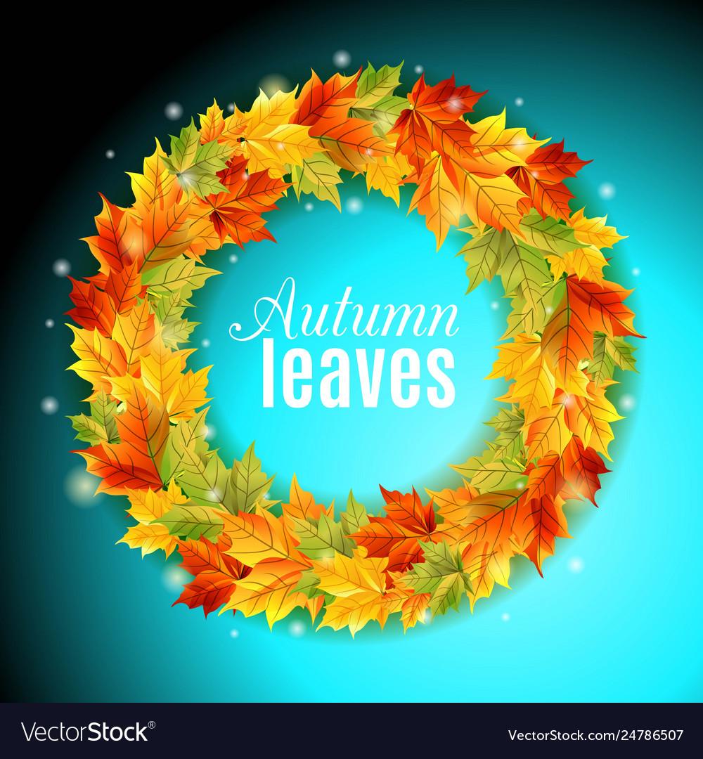 Circle autumn leaves on an orange background