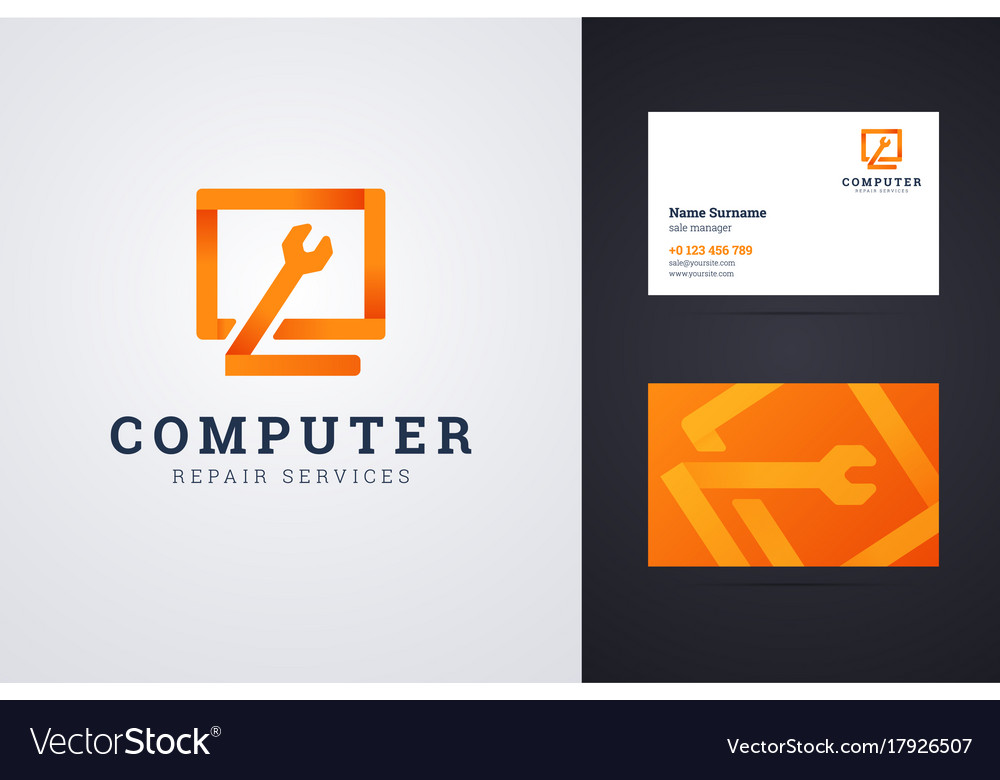 Computer repair service logo and business card vector image colourmoves