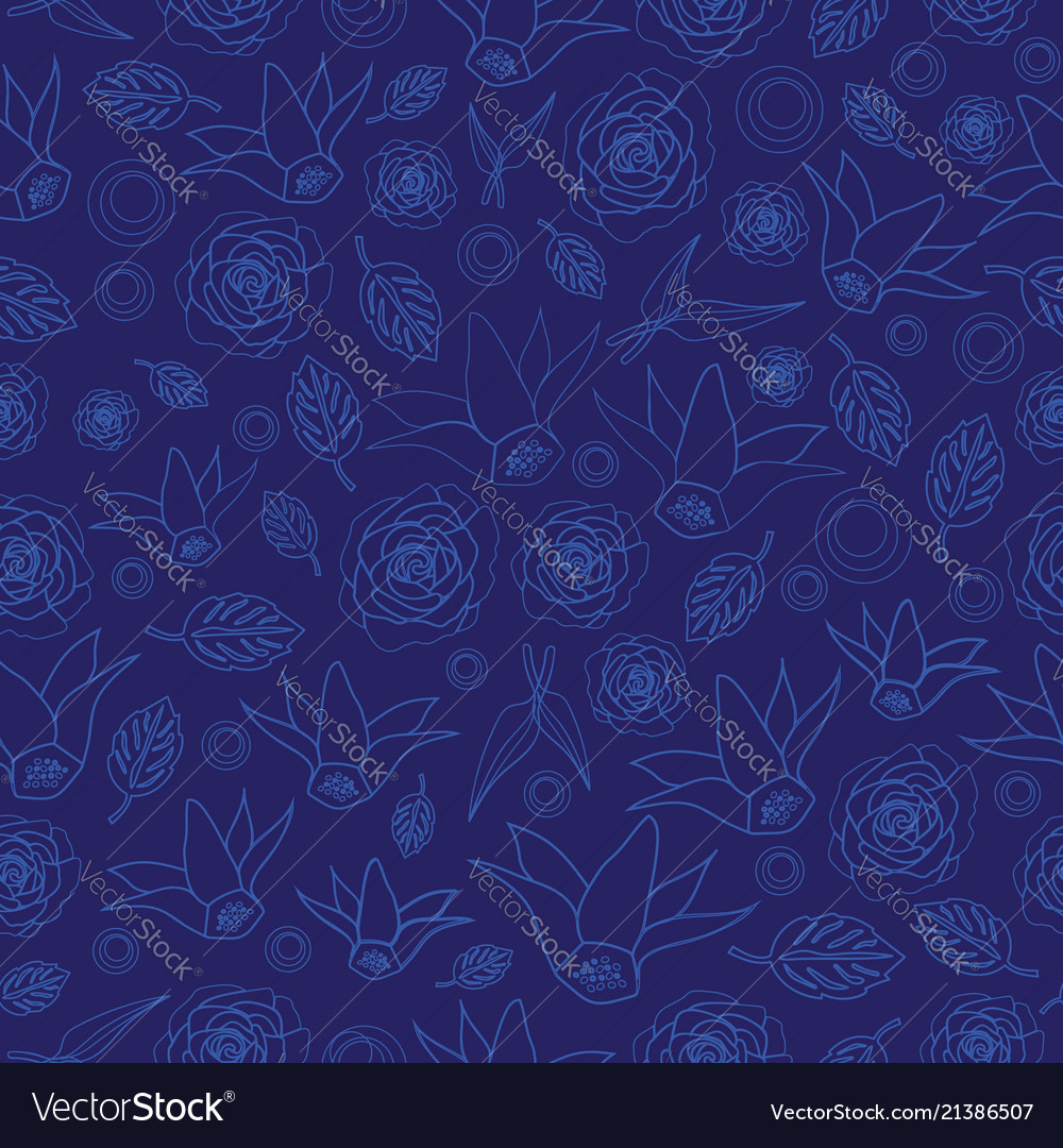 Flowers line silhuette-flowers in bloom seamless