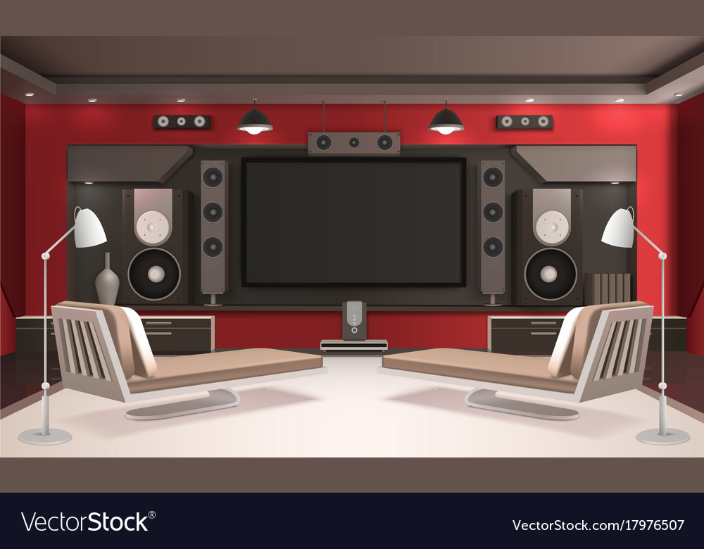 Home Cinema Interior With Red Walls Royalty Free Vector