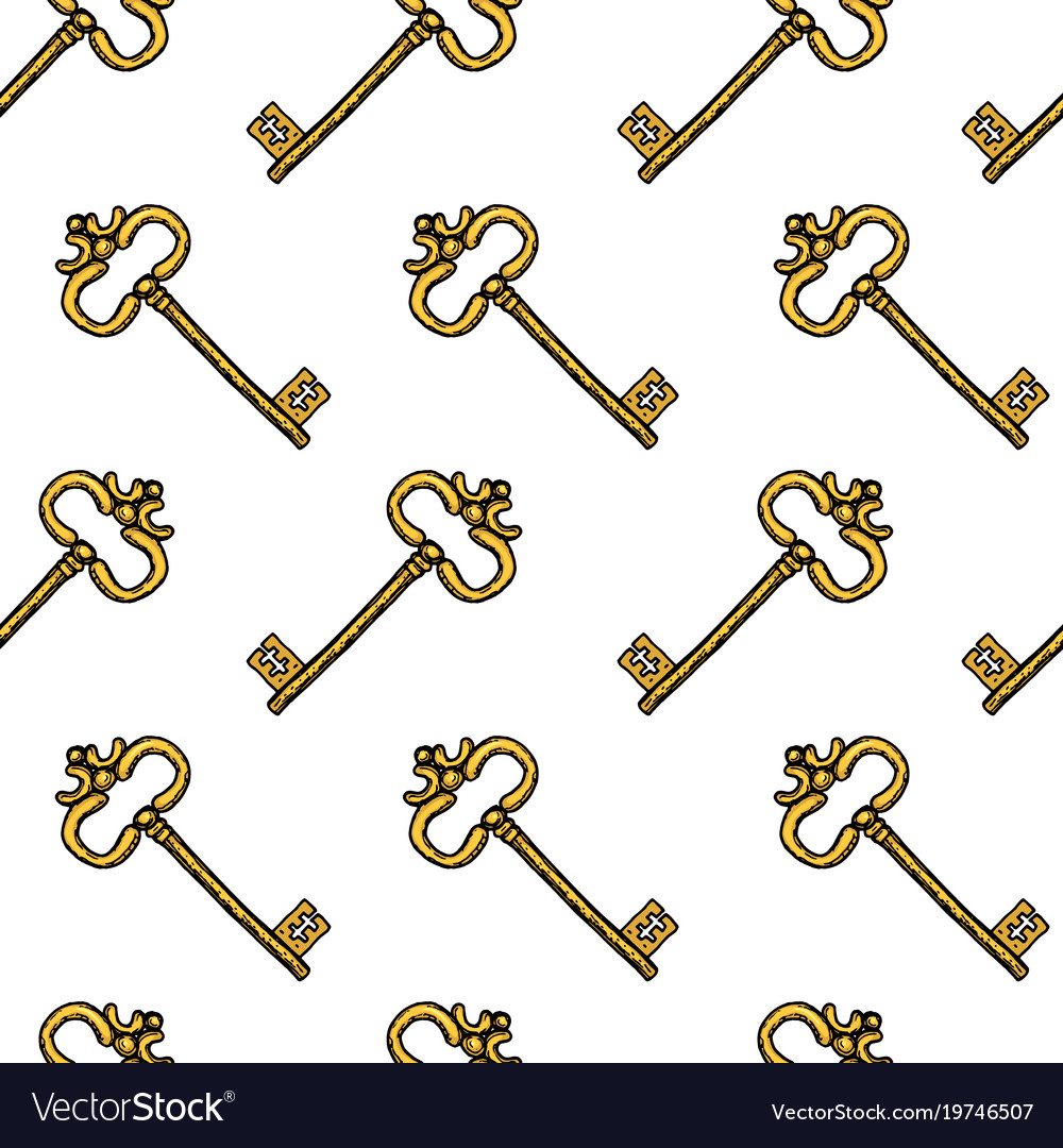 Key seamless pattern interior accessory for door