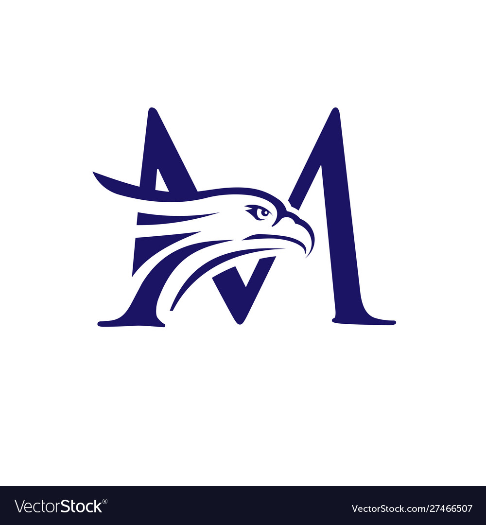 Letter m and eagle head