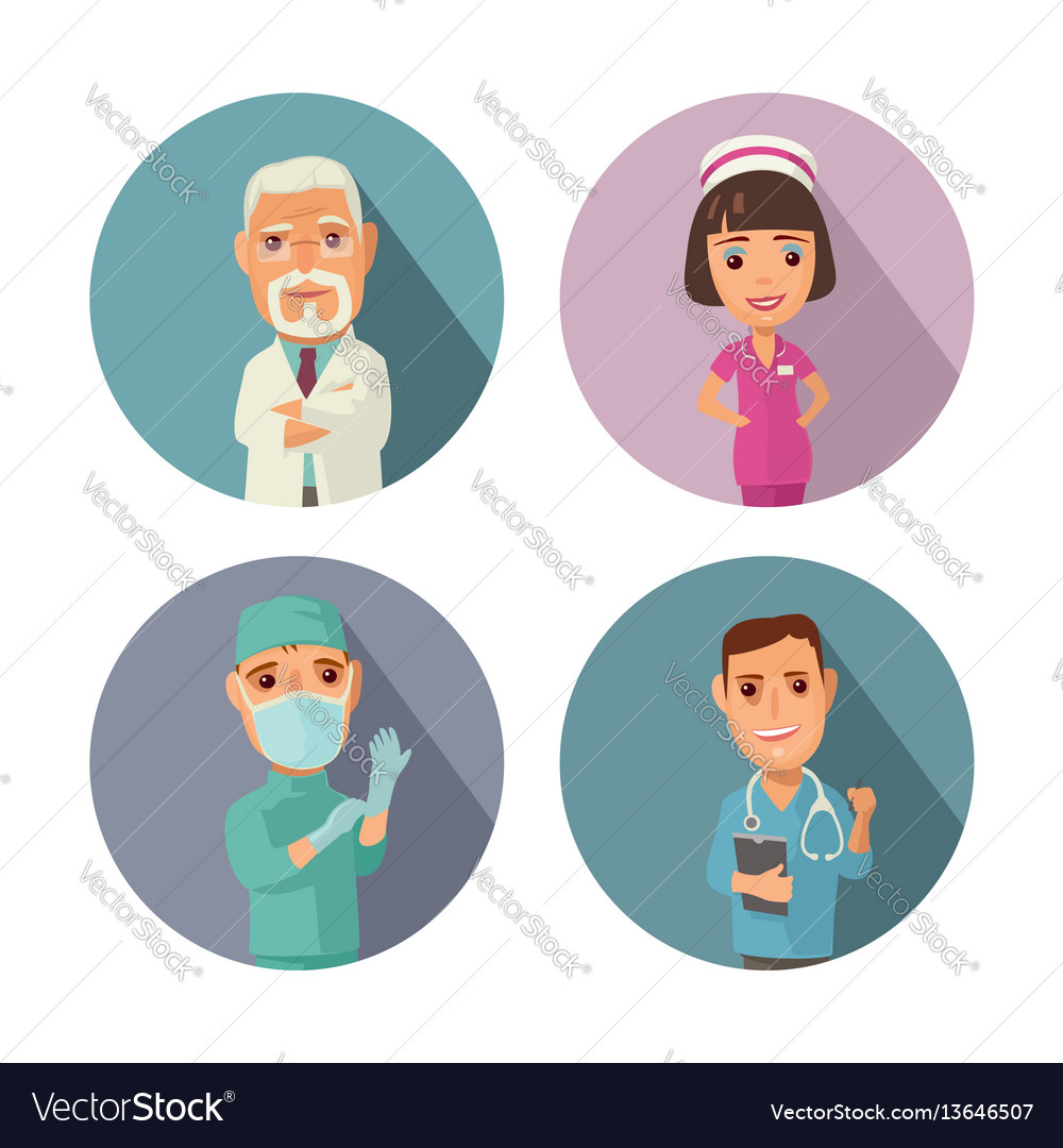 Male female doctor character set icon