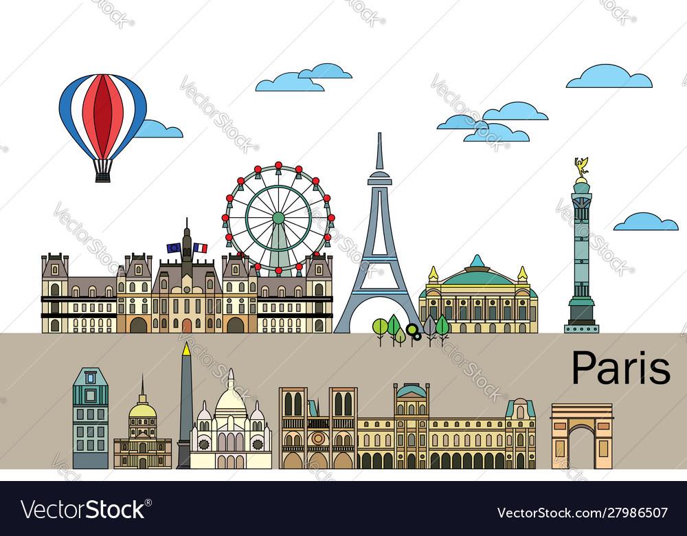 Paris colorful line art 2