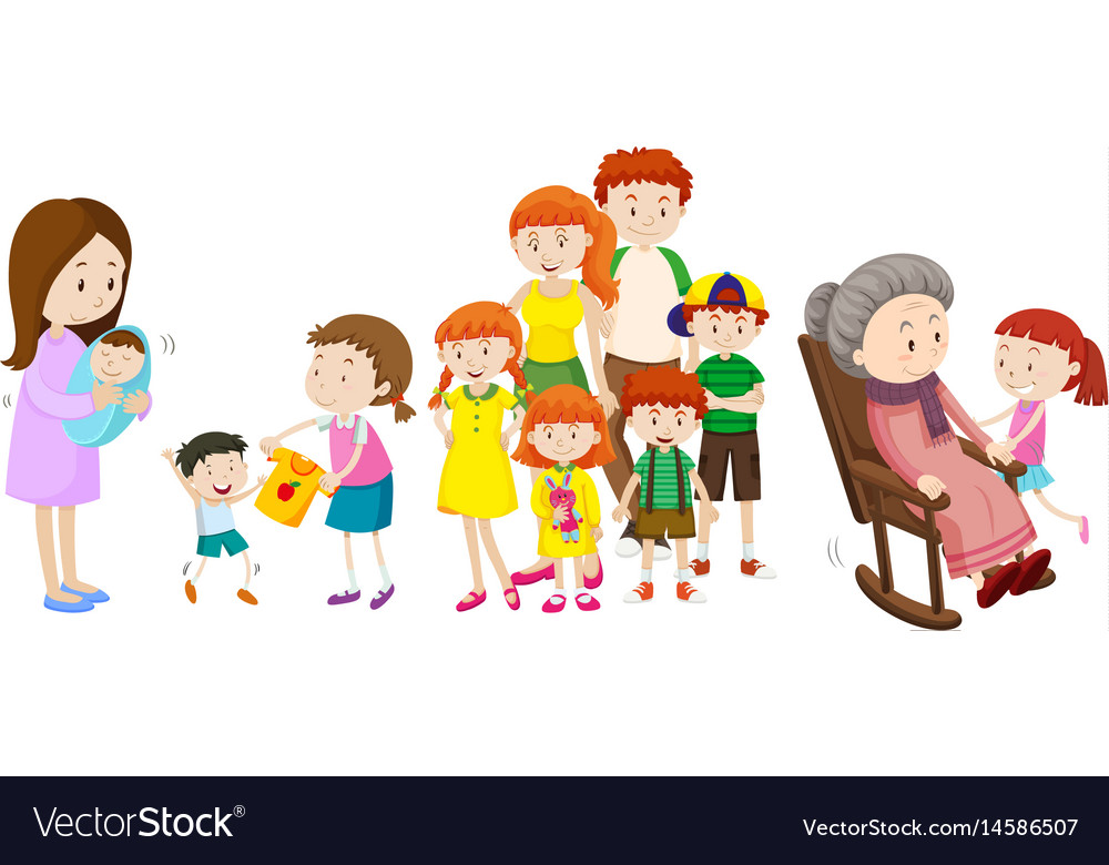 People at different ages in family
