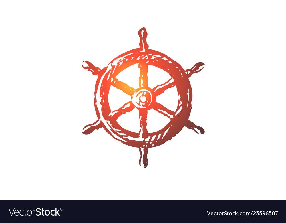 Steering wheel ship nautical sea concept hand