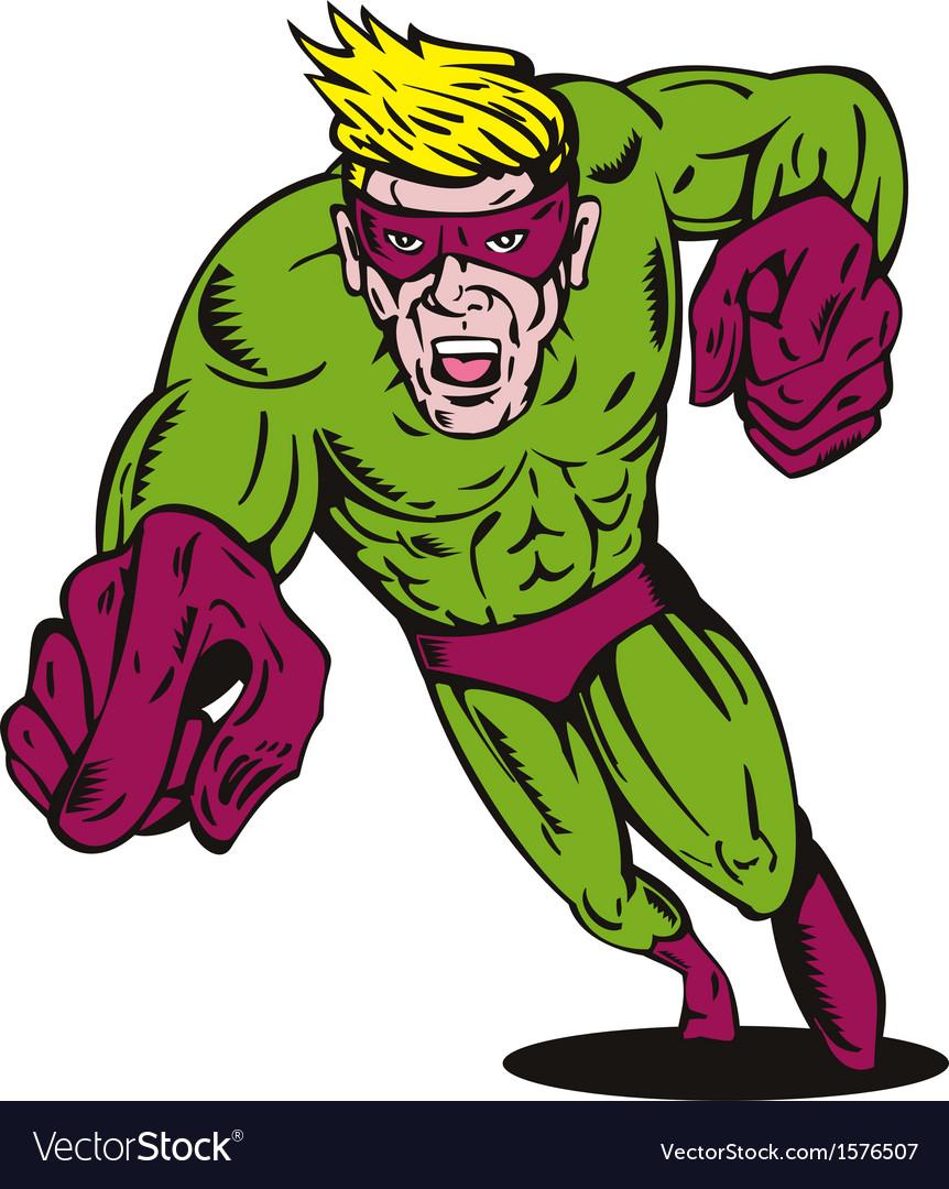 Super Hero Running Pointing Retro