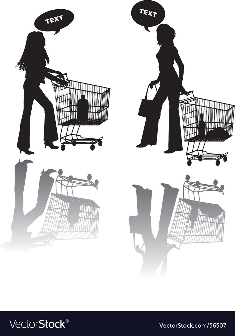 Two girls shop vector