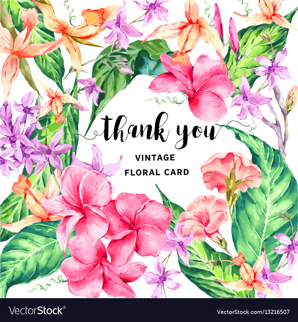 Vintage floral tropical thank you card