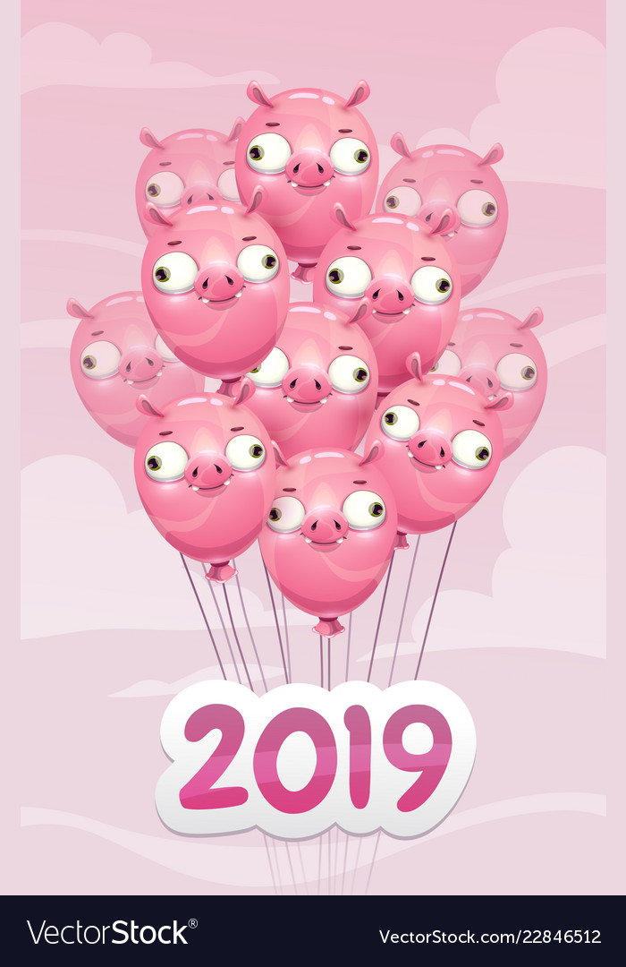 2019 year of the pig funny poster with