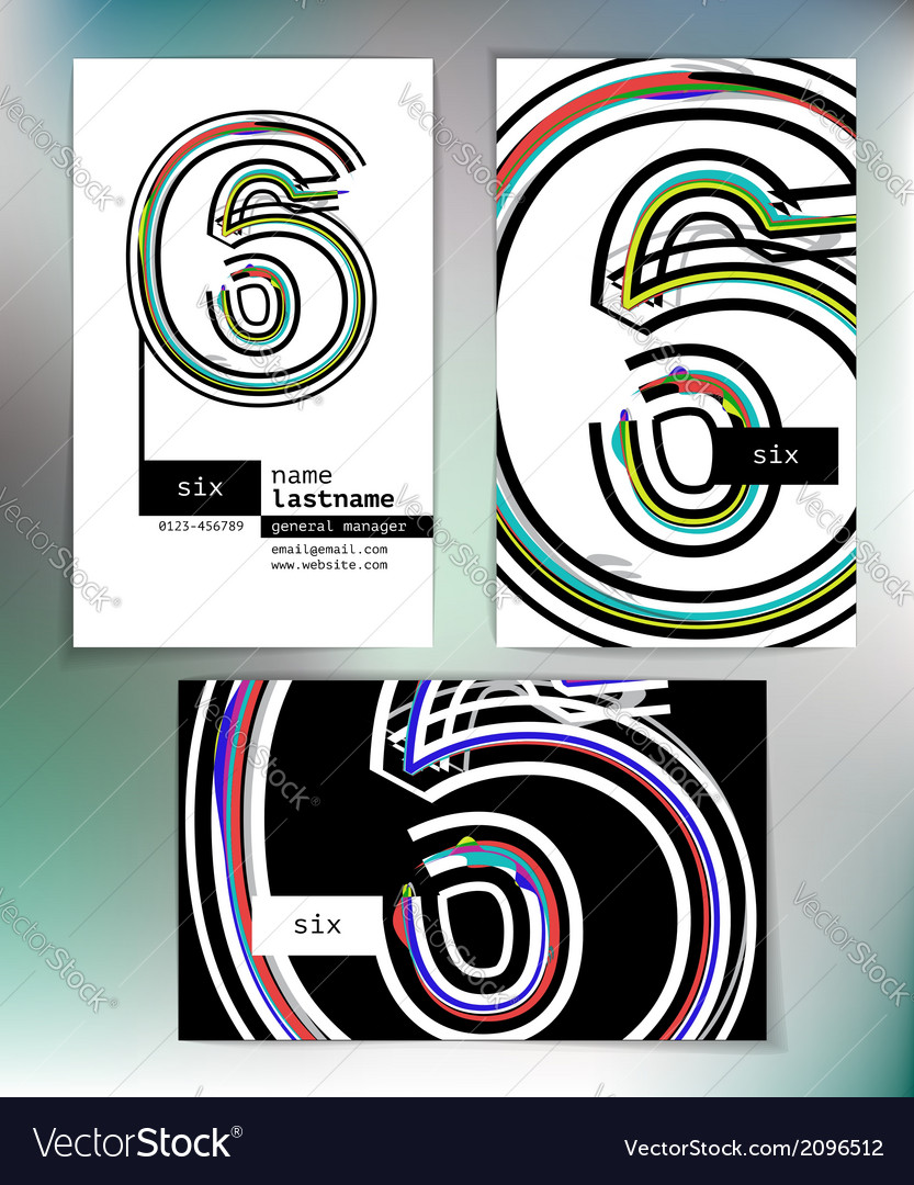 Business card design with number 6