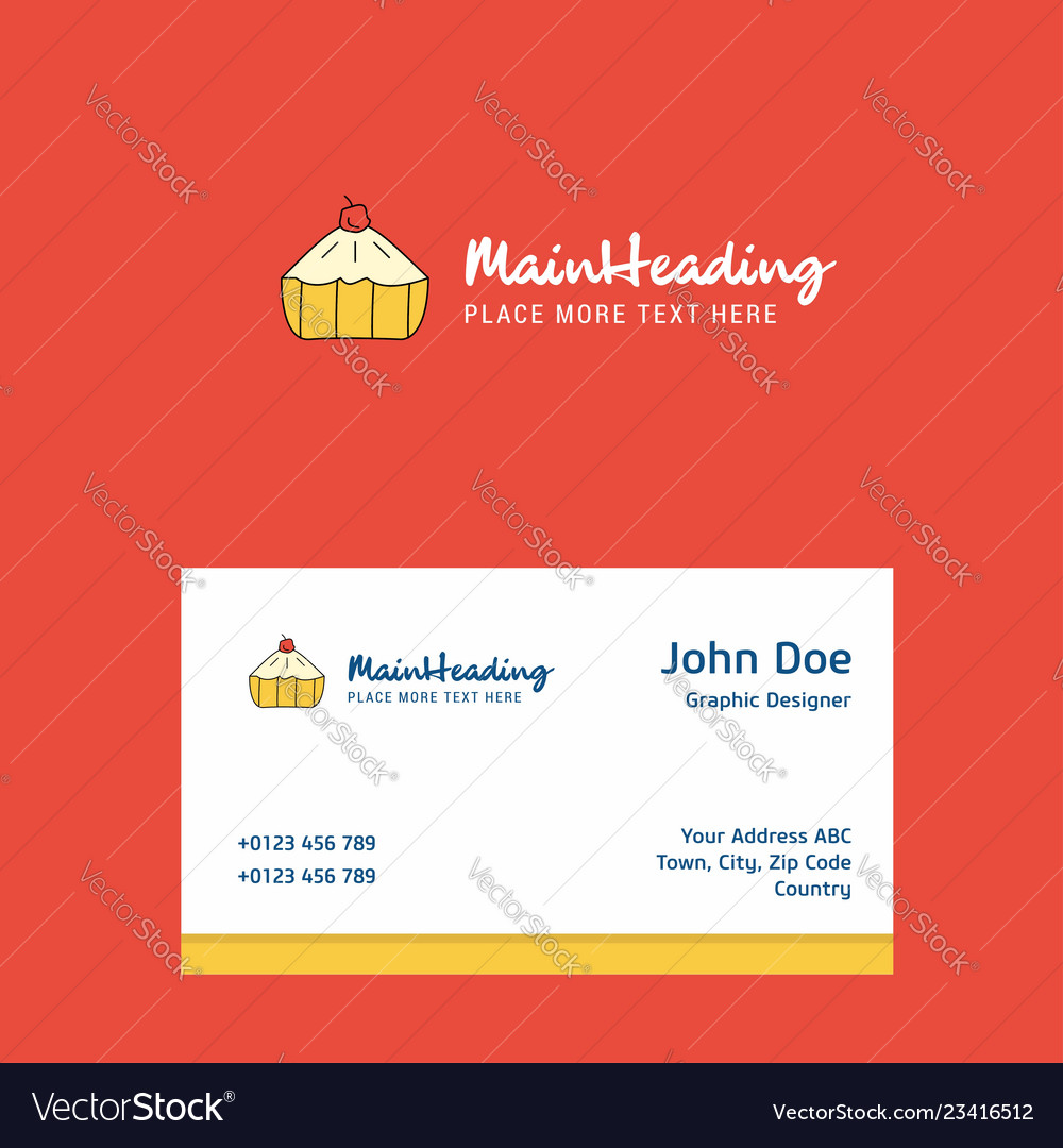 Cake Logo Design With Business Card Template Vector Image