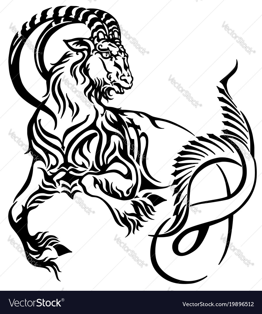 da13d1aef Capricorn tribal tattoo Royalty Free Vector Image