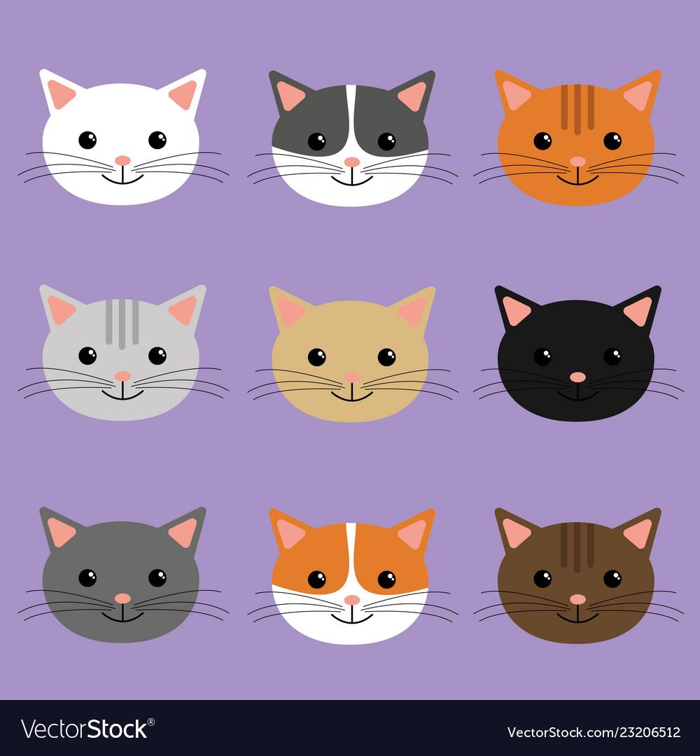Cute Cats Heads Cartoon Character Royalty Free Vector Image