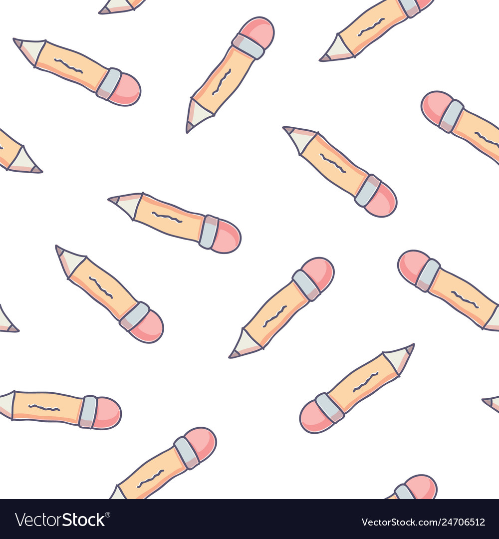 Cute seamless pattern with doodle school pencils