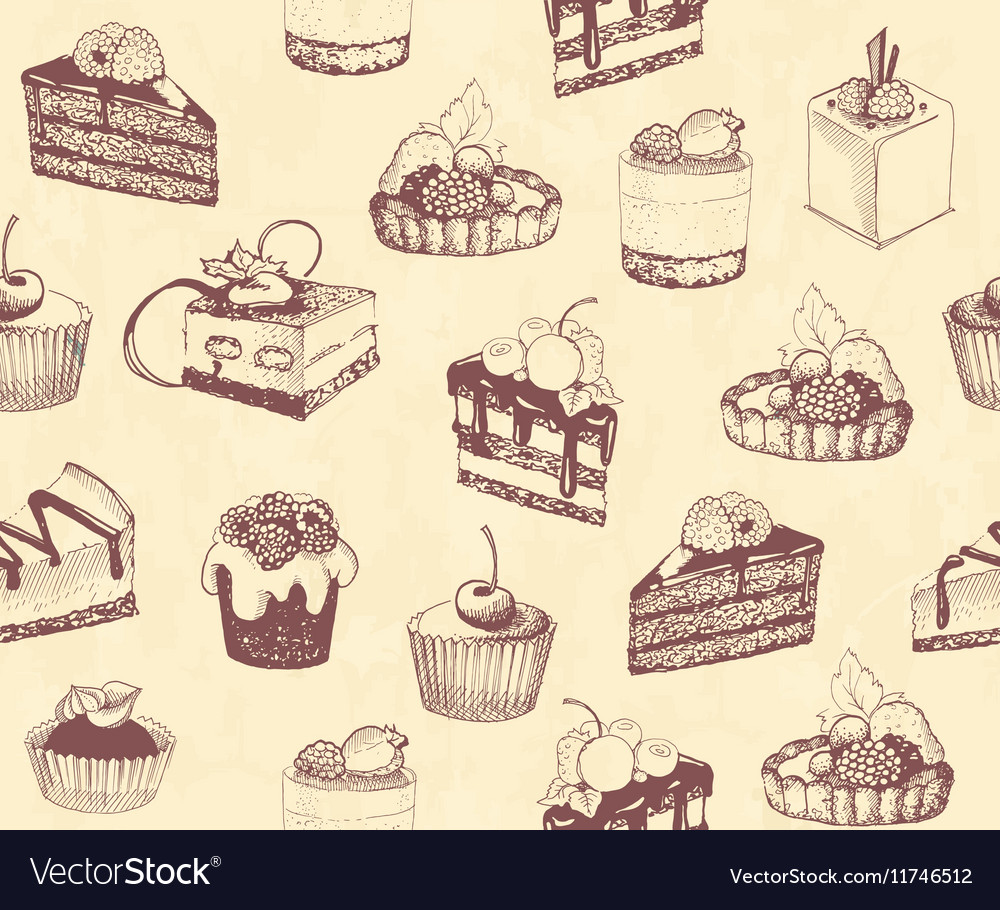Dirty seamless background with sketches of cakes