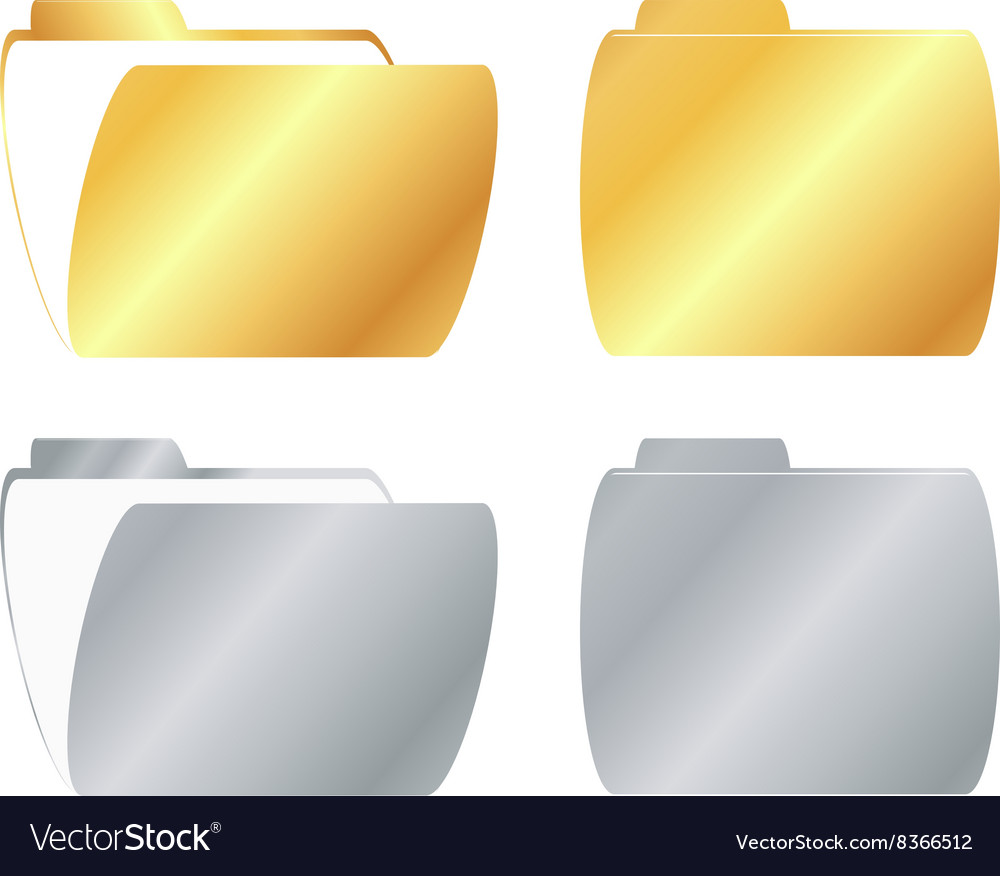 Gold and silver open and closed folder icon