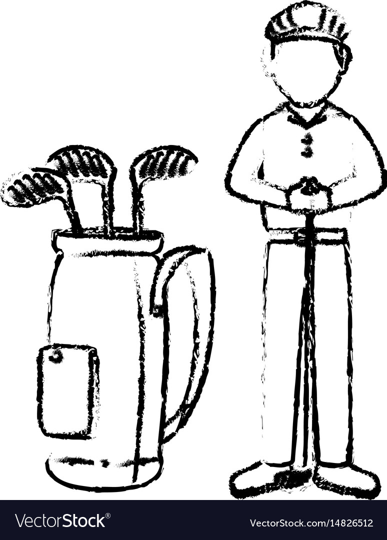 Golf player with clubs bag avatar character