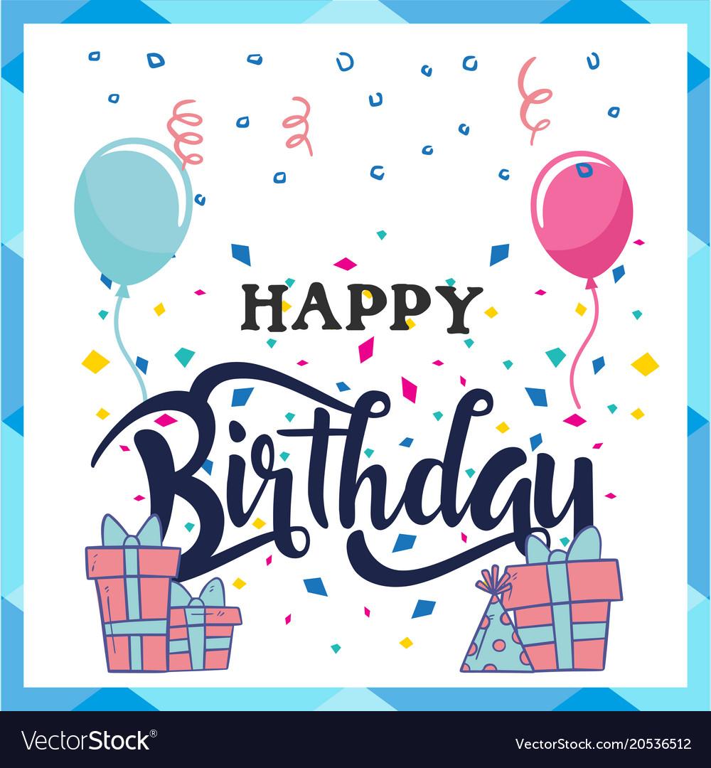 Happy birthday gift box balloon flags background v