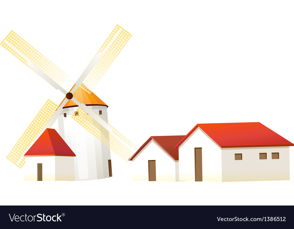 Icon windmill and house