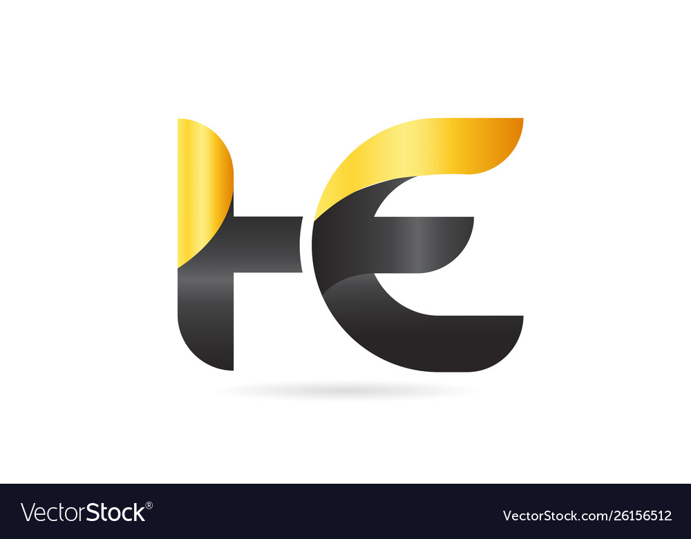 Joined or connected he h e yellow black alphabet