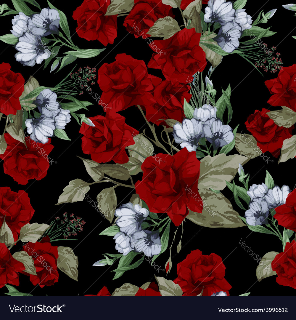 Seamless floral pattern with red roses