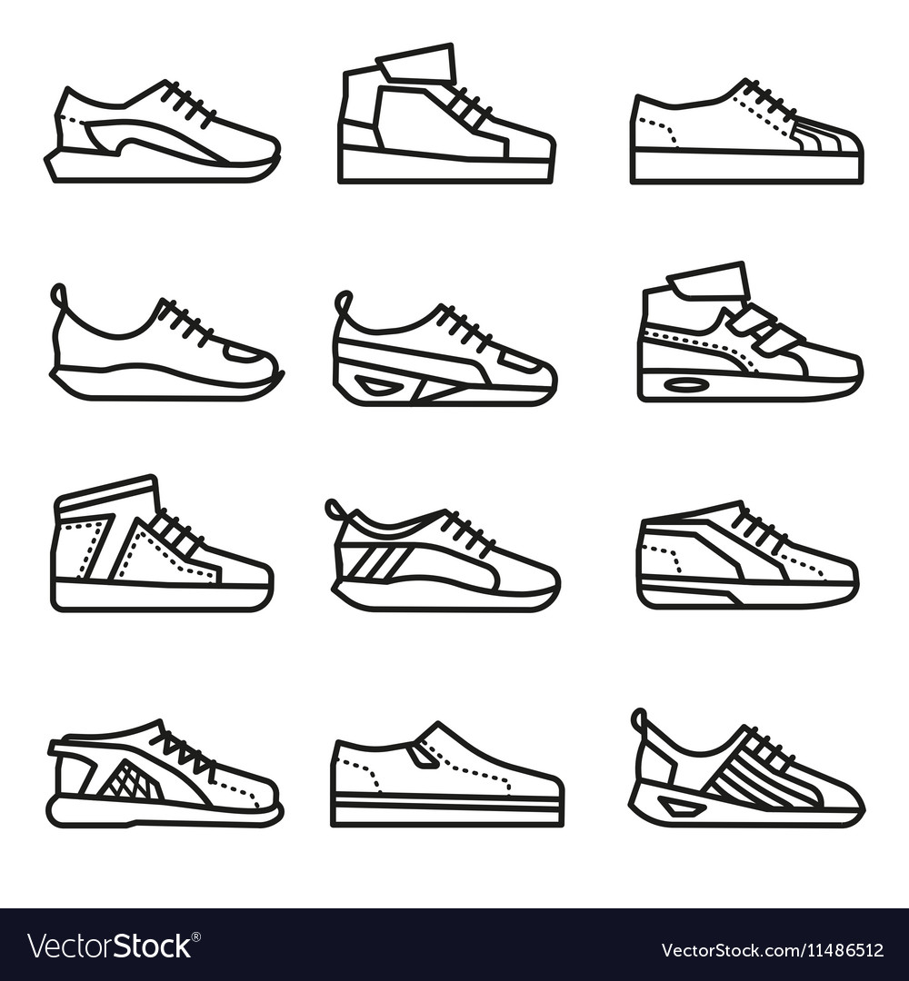 Sneakers running shoes thin line icons set
