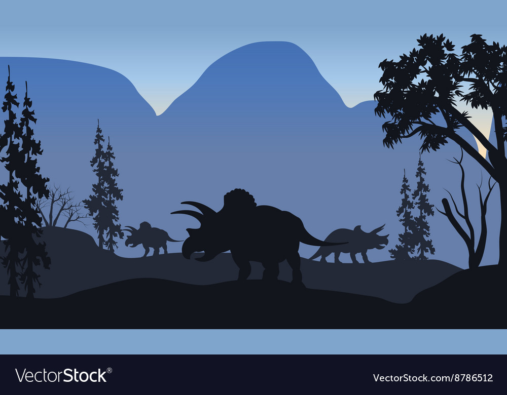 Triceratops of silhouette in hills