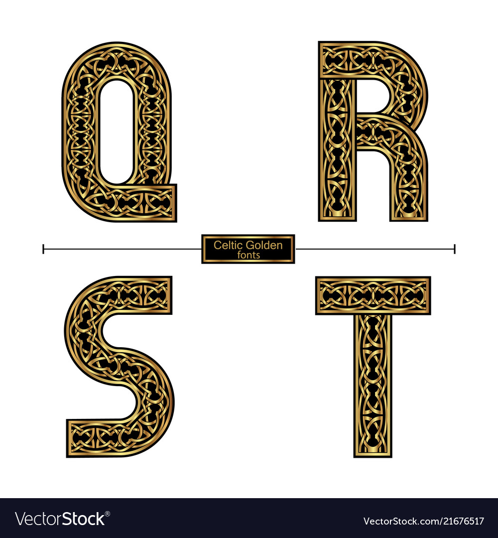 Alphabet celtic golden style in a set qrst