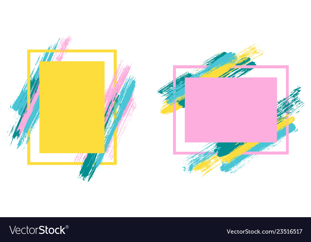 Artistic Frames With Paint Brush Strokes Vector Image