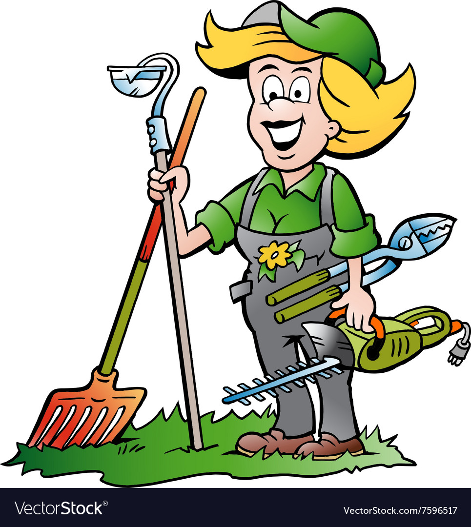 Cartoon of a Handy Gardener Woman standing with he