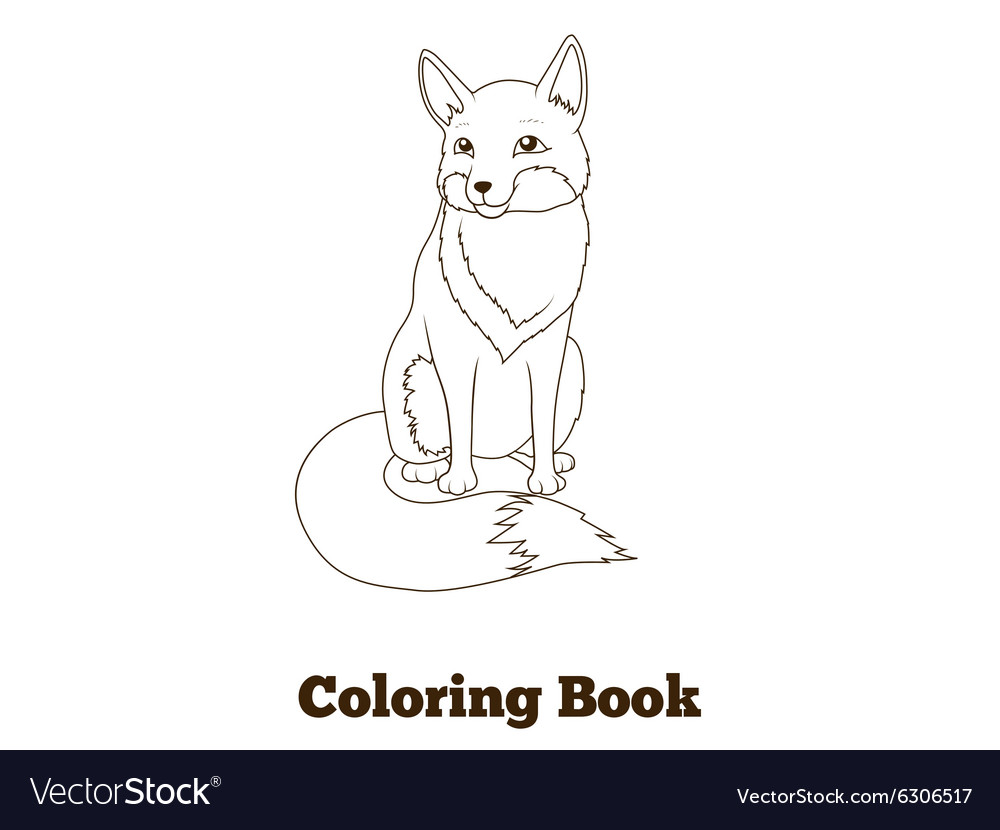 Coloring book forest animal fox cartoon