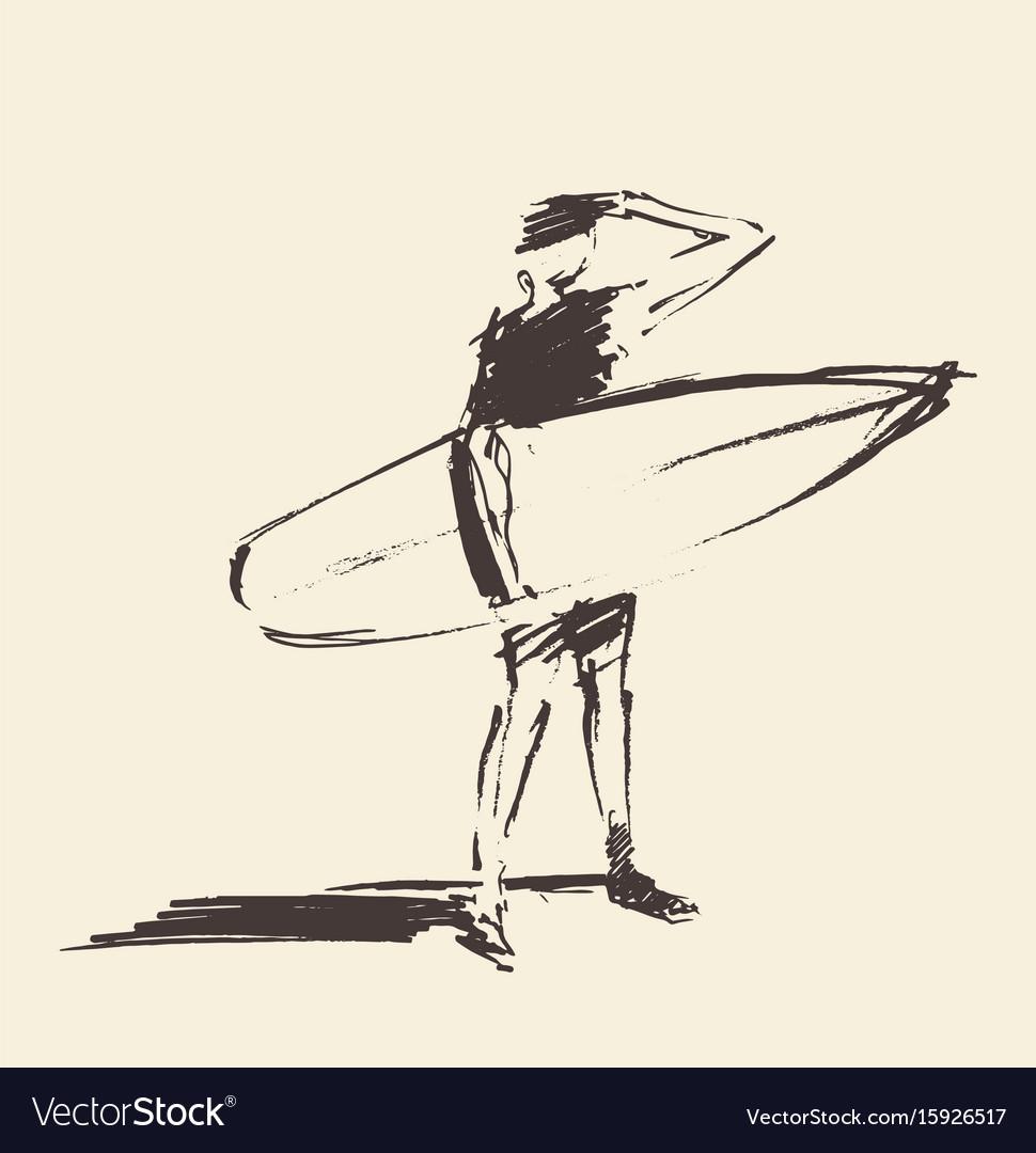Drawn young man beach surfboard sketch