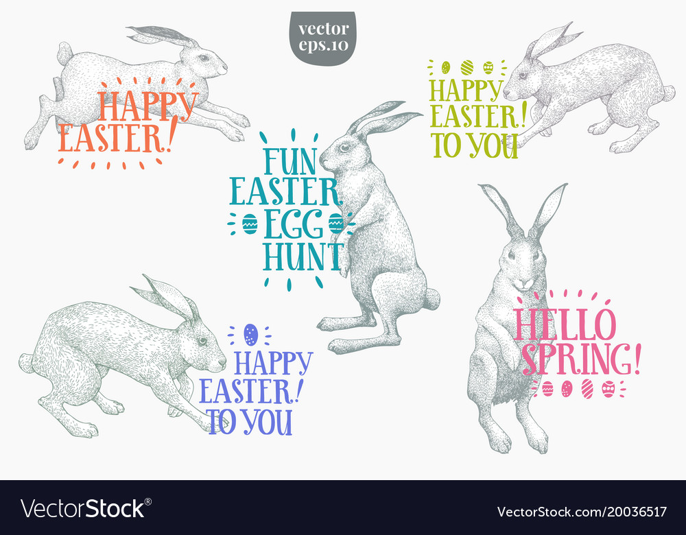 Hand drawn easter rabbits with greeting lettering vector image