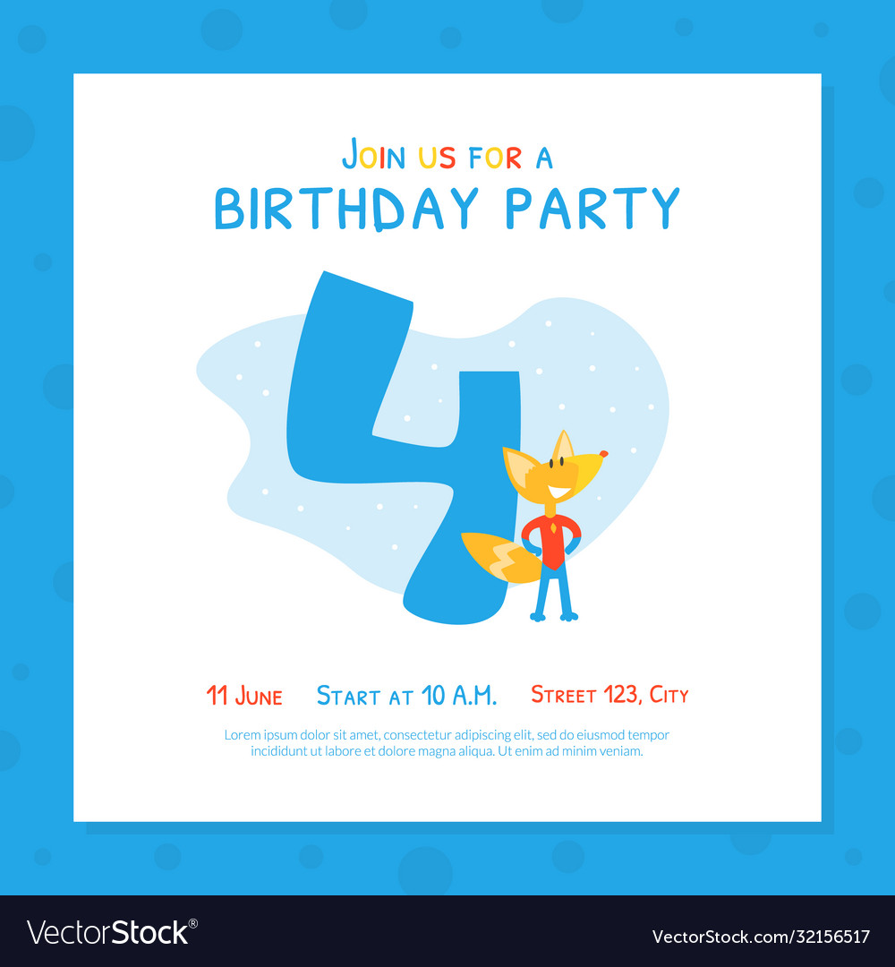 Happy 4th birthday invitation card template Vector Image