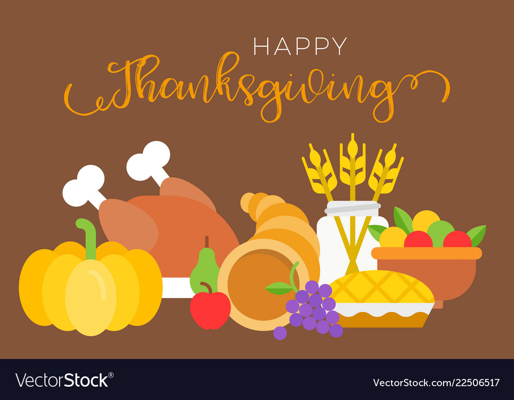 Happy thanksgiving typographic and food such as