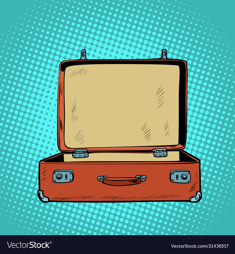 Old open retro suitcase travel and tourism