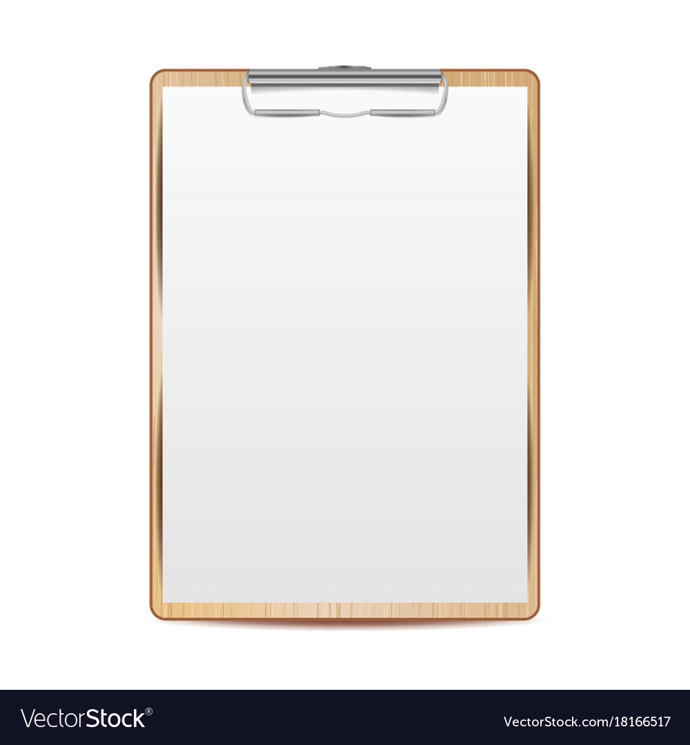 realistic clipboard with paper mock up for vector image