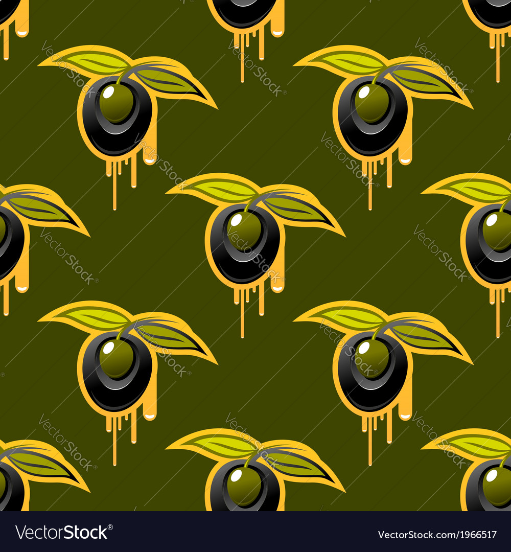 Repeat background seamless pattern of fresh olives vector image
