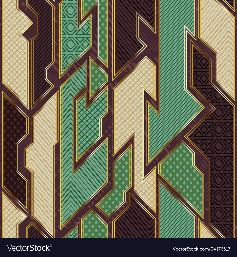 Retro geometric cloth pattern with gold frame